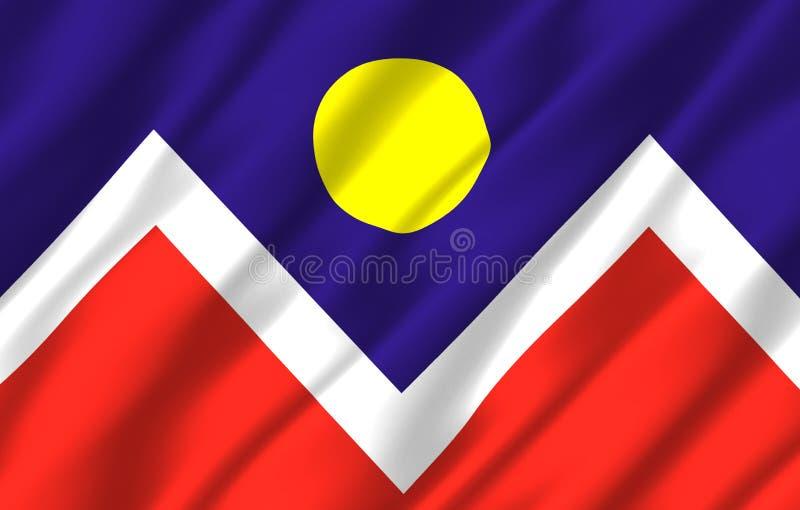 Ρεαλιστική απεικόνιση σημαιών του Ντένβερ Κολοράντο ελεύθερη απεικόνιση δικαιώματος