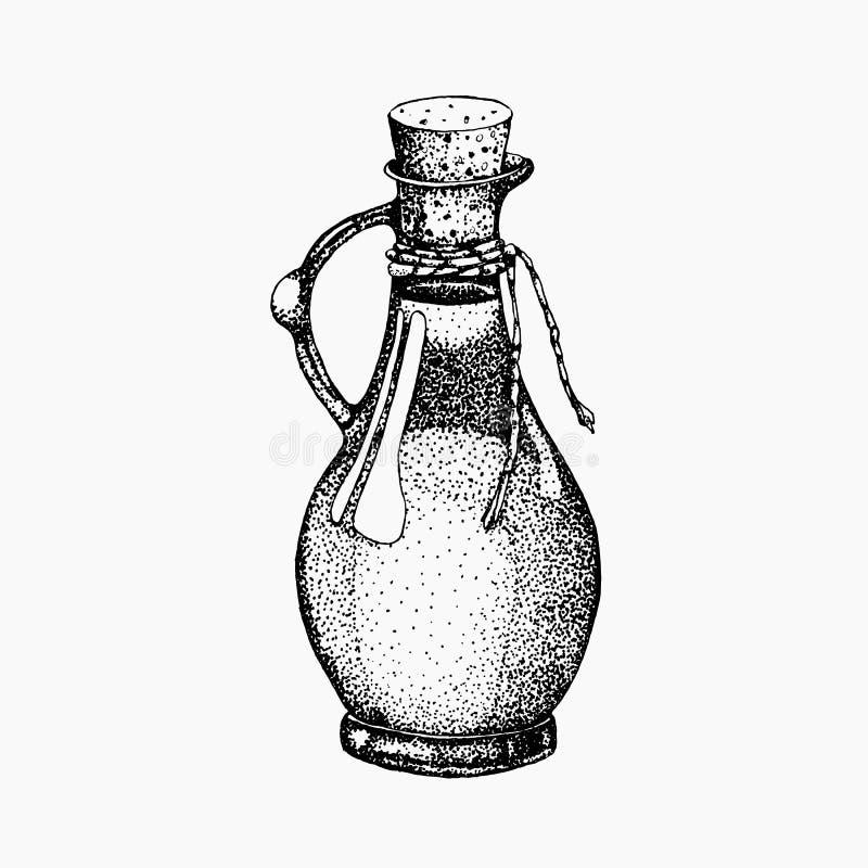 Ρεαλιστική απεικόνιση του μαύρου και πράσινου ελαιολάδου που απομονώνεται στο άσπρο υπόβαθρο Σχέδιο για το ελαιόλαδο, φυσικό ελεύθερη απεικόνιση δικαιώματος
