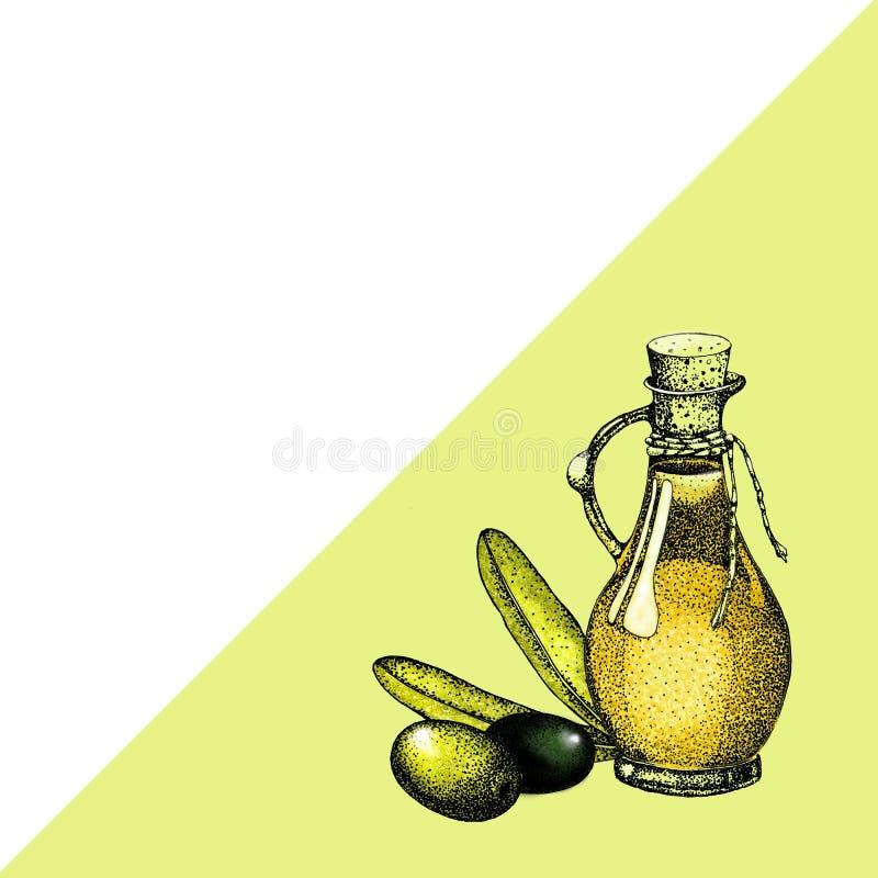 Ρεαλιστική απεικόνιση του μαύρου και πράσινου κλάδου ελιών που απομονώνεται στο πράσινο υπόβαθρο Σχέδιο για το ελαιόλαδο, φυσικά  διανυσματική απεικόνιση