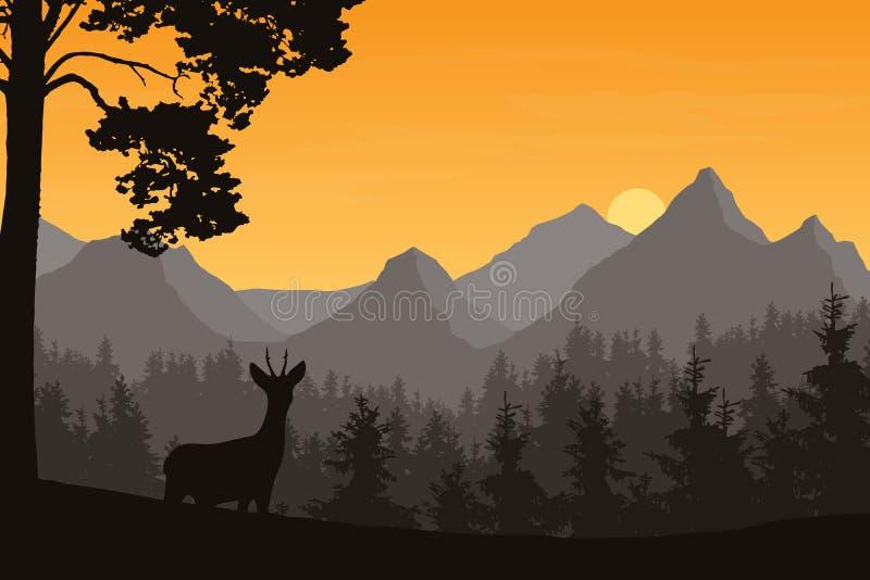 Ρεαλιστική απεικόνιση του τοπίου βουνών με το κωνοφόρα δάσος και τα ελάφια Κάτω από τον πορτοκαλή ουρανό πρωινού με τα σύννεφα με ελεύθερη απεικόνιση δικαιώματος