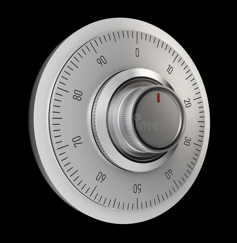 Ρεαλιστική ασφαλής κλειδαριά συνδυασμού η ανασκόπηση απομόνωσε το λευκό τρισδιάστατη απεικόνιση απεικόνιση αποθεμάτων
