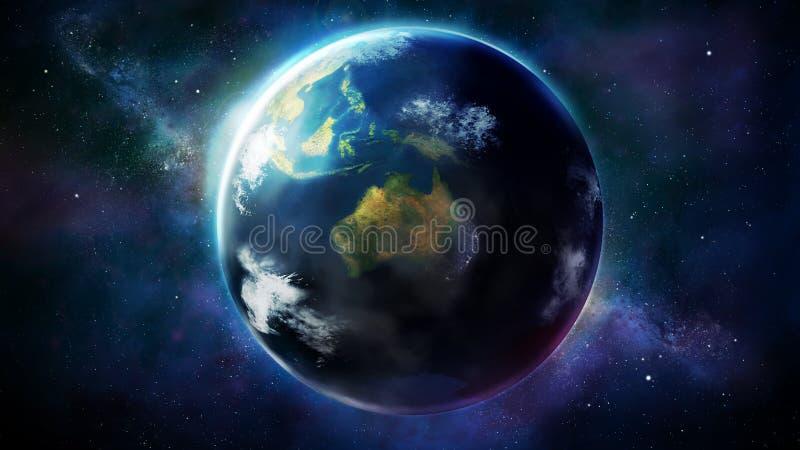 Ρεαλιστική γη από το διάστημα που παρουσιάζει την Ασία, την Αυστραλία και Ωκεανία ελεύθερη απεικόνιση δικαιώματος