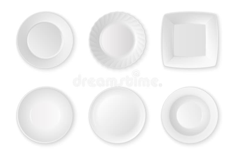 Ρεαλιστική διανυσματική άσπρη καθορισμένη κινηματογράφηση σε πρώτο πλάνο εικονιδίων πιάτων τροφίμων κενή που απομονώνεται στο άσπ ελεύθερη απεικόνιση δικαιώματος