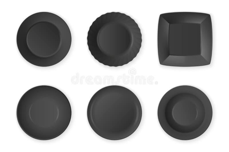 Ρεαλιστική διανυσματική μαύρη καθορισμένη κινηματογράφηση σε πρώτο πλάνο εικονιδίων πιάτων τροφίμων κενή που απομονώνεται στο άσπ διανυσματική απεικόνιση