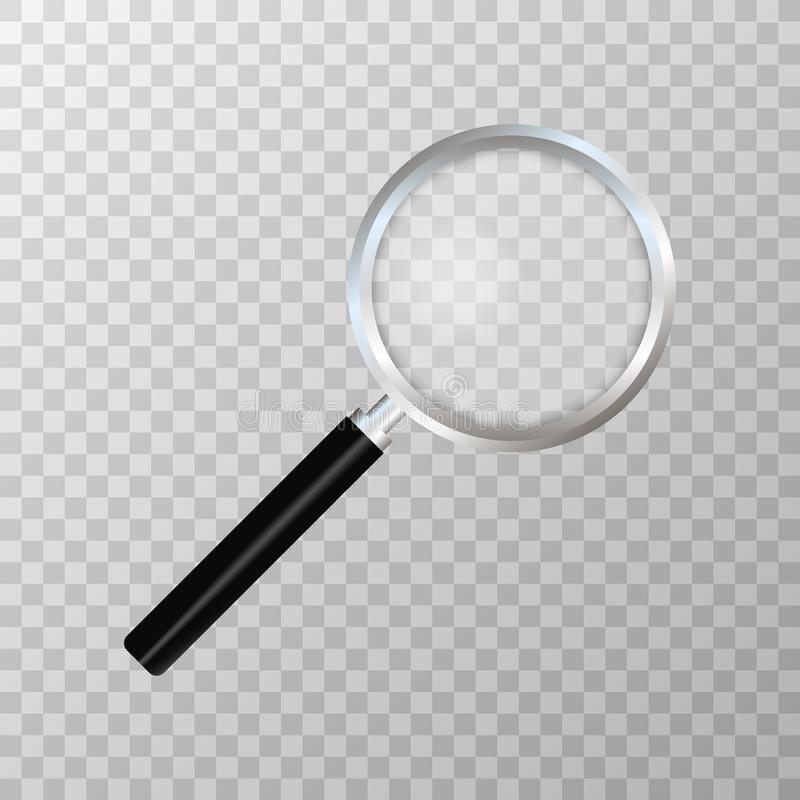 Ρεαλιστική ενίσχυση - γυαλί στο διαφανές υπόβαθρο Σύμβολο αναζήτησης και επιθεώρησης Επιχειρησιακή έννοια ελεύθερη απεικόνιση δικαιώματος