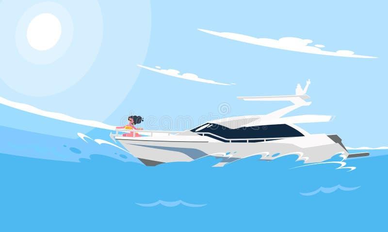 Ρεαλιστική επίπεδη απεικόνιση ύφους του άσπρου γιοτ μηχανών στο νερό Σύγχρονη εικόνα βαρκών στο υπόβαθρο μιας θάλασσας διανυσματική απεικόνιση