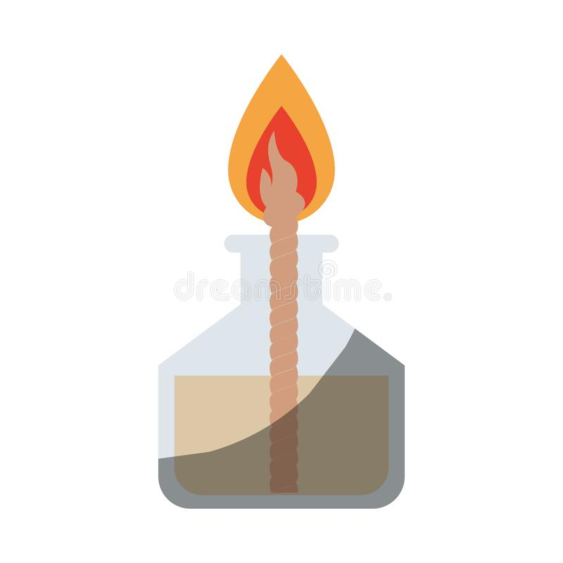 Ρεαλιστική ζωηρόχρωμη σκιάζοντας εικόνα του εργαστηριακού αναπτήρα με το σχοινί και τη φλόγα απεικόνιση αποθεμάτων