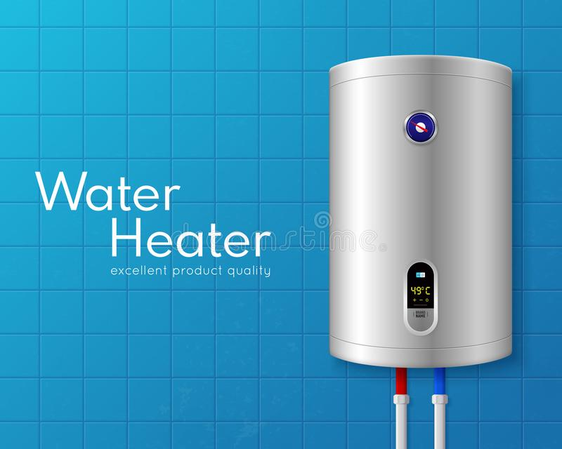 Ρεαλιστική ηλεκτρική αφίσα λεβήτων θερμοσιφώνων διανυσματική απεικόνιση