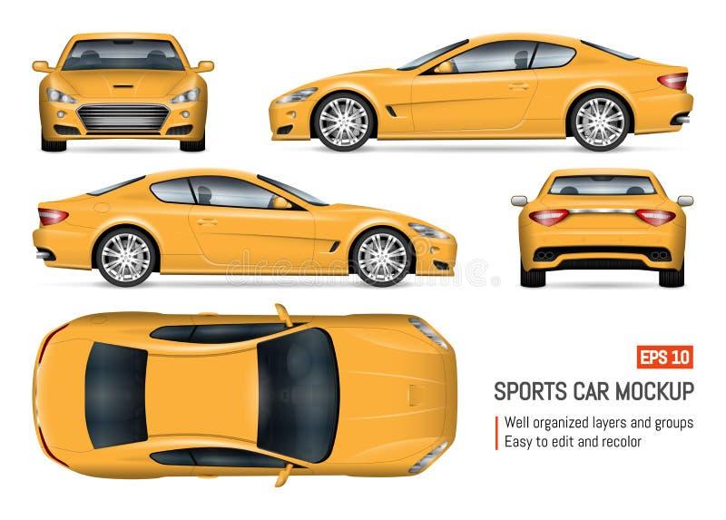 Ρεαλιστική κίτρινη διανυσματική απεικόνιση αυτοκινήτων ελεύθερη απεικόνιση δικαιώματος