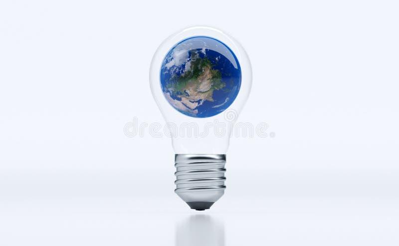 Ρεαλιστική κλασική λάμπα φωτός με τη γήινη σφαίρα μέσα διανυσματική απεικόνιση