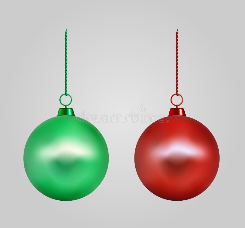 Ρεαλιστική κόκκινη και πράσινη σφαίρα Χριστουγέννων νέο έτος παιχνιδιών απεικόνιση αποθεμάτων