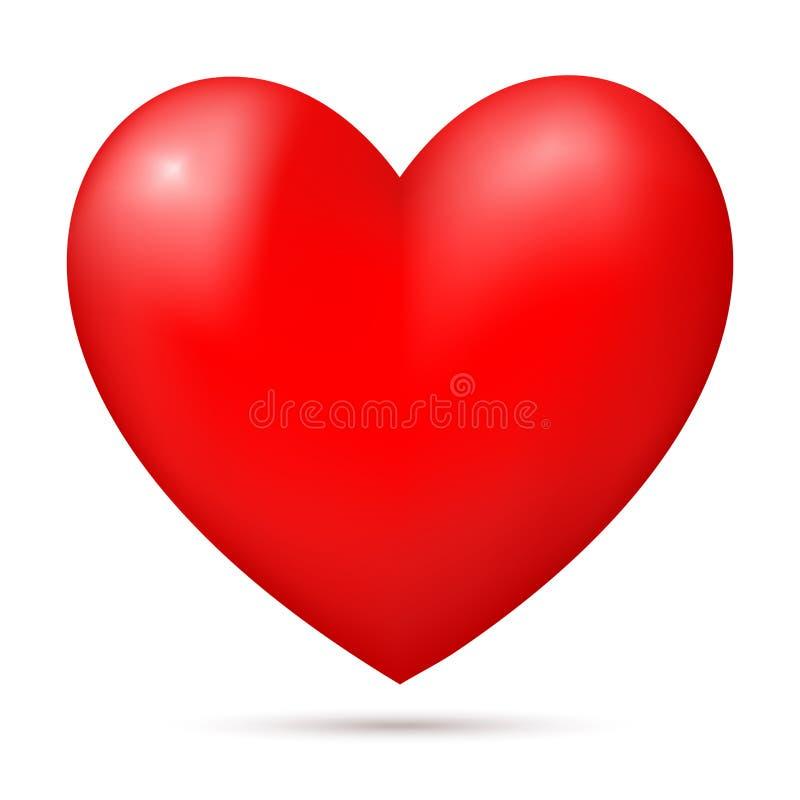 Ρεαλιστική κόκκινη τρισδιάστατη καρδιά απεικόνιση αποθεμάτων