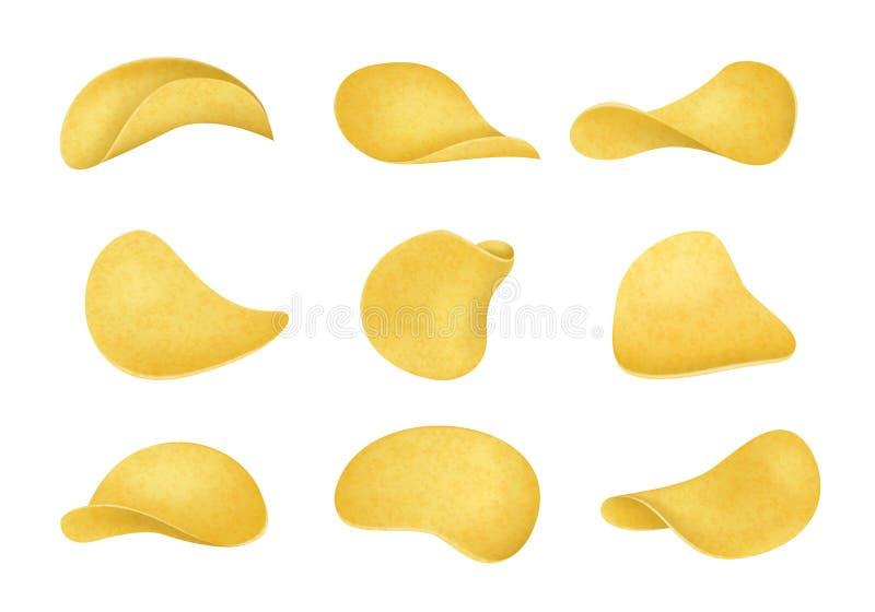 Ρεαλιστική λεπτομερής τρισδιάστατη διαφορετική άποψη συνόλου τσιπ πατατών διάνυσμα ελεύθερη απεικόνιση δικαιώματος