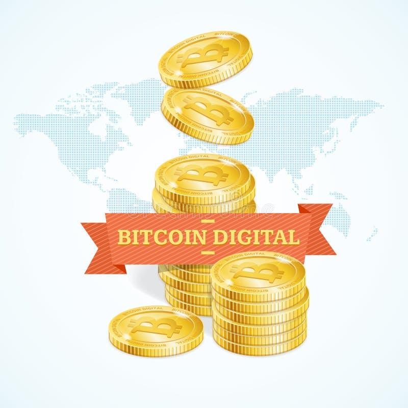 Ρεαλιστική λεπτομερής τρισδιάστατη χρυσή ψηφιακή έννοια Bitcoins διάνυσμα απεικόνιση αποθεμάτων