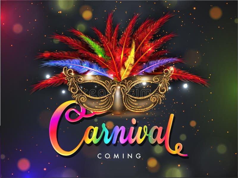 Ρεαλιστική μάσκα κομμάτων που διακοσμείται με το ζωηρόχρωμα φτερό και το κείμενο καρναβάλι στο υπόβαθρο bokeh ελεύθερη απεικόνιση δικαιώματος