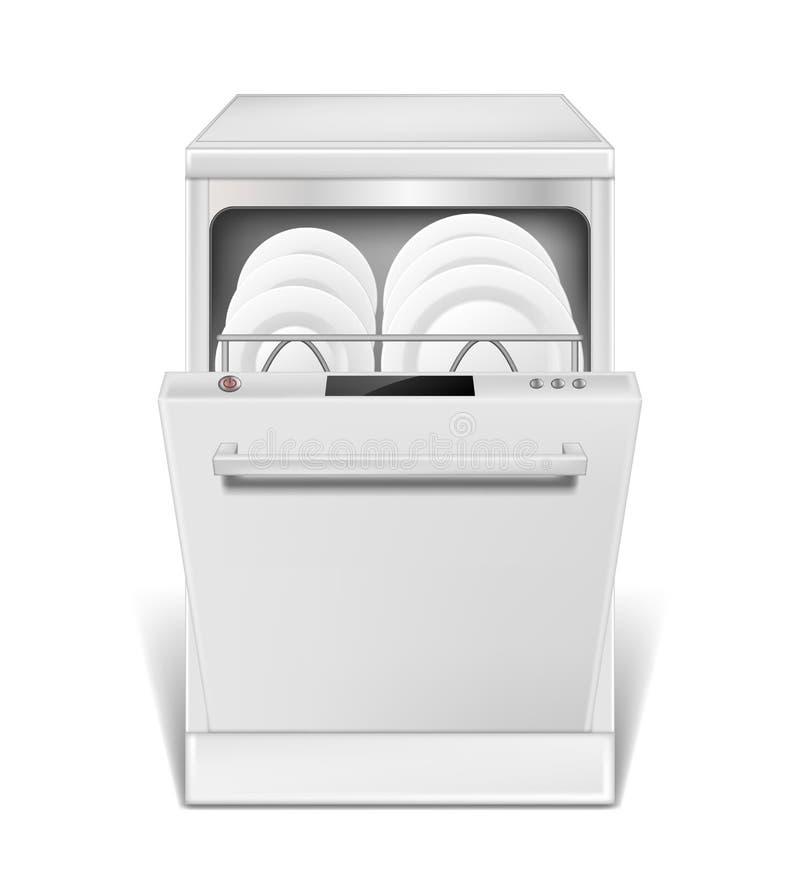 Ρεαλιστική μηχανή πλυντηρίων πιάτων με τη ανοιχτή πόρτα Άσπρο πλυντήριο πιάτων με τα καθαρά πιάτα και τα γυαλιά, μπροστινή άποψη  διανυσματική απεικόνιση