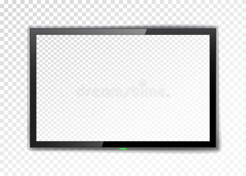 Ρεαλιστική οθόνη TV Κενό οδηγημένο όργανο ελέγχου σε ένα διαφανές υπόβαθρο επίσης corel σύρετε το διάνυσμα απεικόνισης στοκ εικόνες