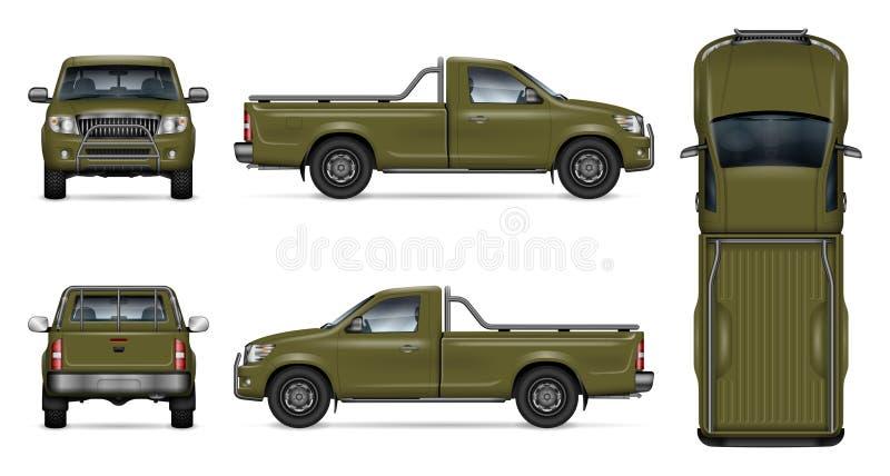 Ρεαλιστική πράσινη διανυσματική απεικόνιση ανοιχτών φορτηγών απεικόνιση αποθεμάτων