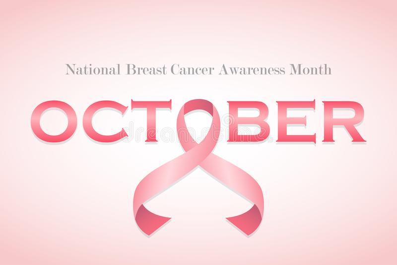 Ρεαλιστική ρόδινη κορδέλλα, σύμβολο συνειδητοποίησης καρκίνου του μαστού επίσης corel σύρετε το διάνυσμα απεικόνισης ελεύθερη απεικόνιση δικαιώματος