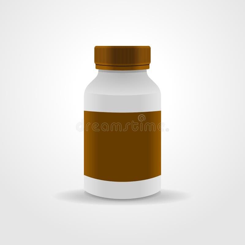 Ρεαλιστική συσκευασία μπουκαλιών ιατρικής, που απομονώνεται στο άσπρο υπόβαθρο διανυσματική απεικόνιση