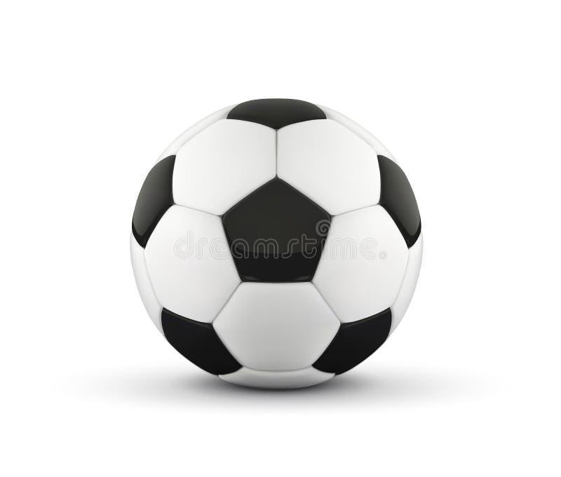 Ρεαλιστική σφαίρα ποδοσφαίρου ή σφαίρα ποδοσφαίρου στο άσπρο υπόβαθρο τρισδιάστατη σφαίρα ύφους που απομονώνεται στο άσπρο υπόβαθ απεικόνιση αποθεμάτων