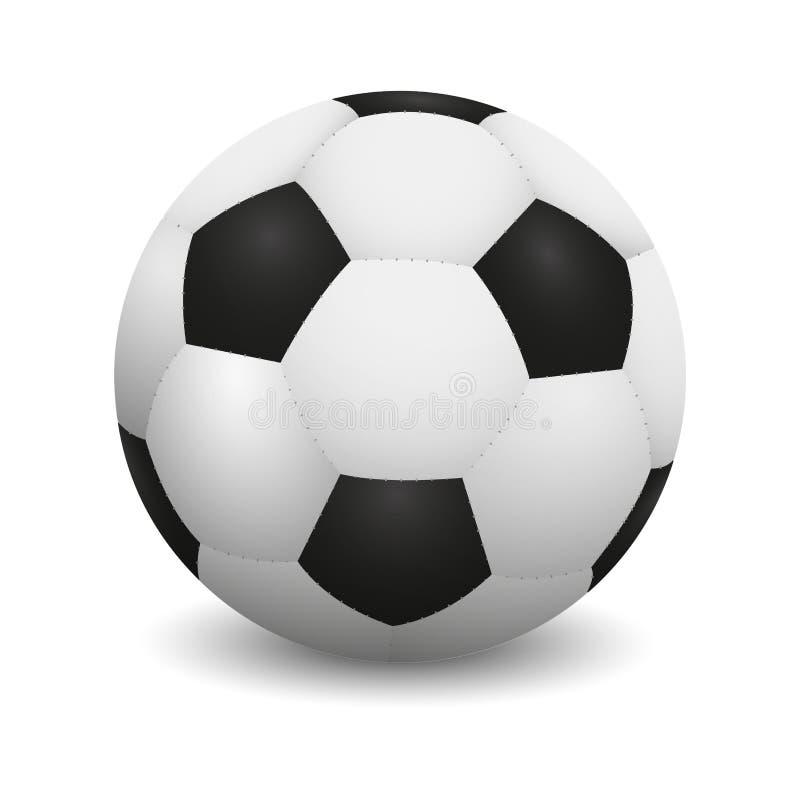 Ρεαλιστική σφαίρα ποδοσφαίρου ή σφαίρα ποδοσφαίρου στο άσπρο υπόβαθρο ελεύθερη απεικόνιση δικαιώματος