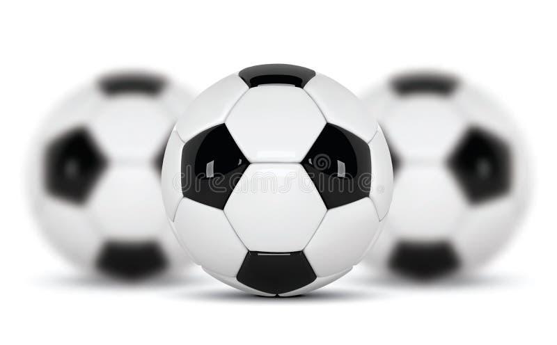 Ρεαλιστική σφαίρες ποδοσφαίρου ή σφαίρα ποδοσφαίρου στο άσπρο υπόβαθρο σύνολο τρισδιάστατης διανυσματικής σφαίρας ύφους τρία που  απεικόνιση αποθεμάτων