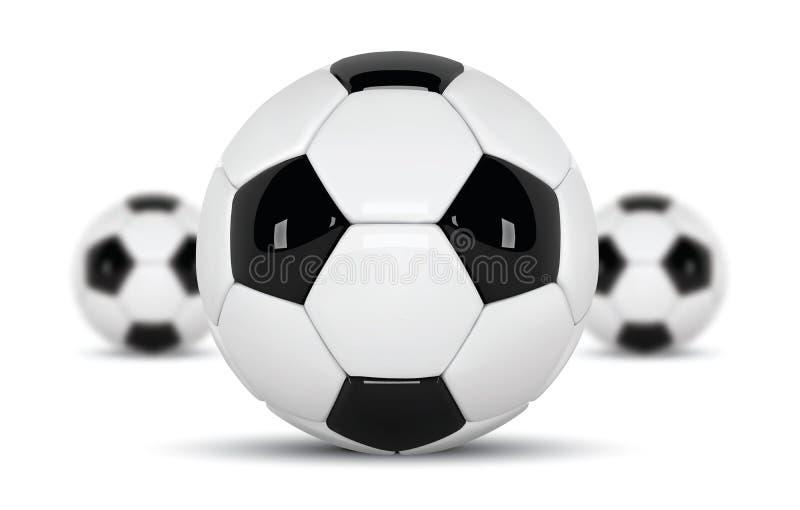 Ρεαλιστική σφαίρες ποδοσφαίρου ή σφαίρα ποδοσφαίρου στο άσπρο υπόβαθρο σύνολο τρισδιάστατης σφαίρας ύφους τρία που απομονώνεται σ ελεύθερη απεικόνιση δικαιώματος