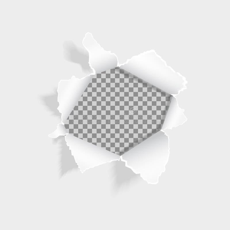 Ρεαλιστική σχισμένη τρύπα στο φύλλο του εγγράφου Σχισμένο έγγραφο για το άσπρο υπόβαθρο Έγγραφο με τις σχισμένα άκρες και το διάσ ελεύθερη απεικόνιση δικαιώματος