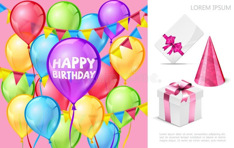 Ρεαλιστική σύνθεση γιορτής γενεθλίων ελεύθερη απεικόνιση δικαιώματος