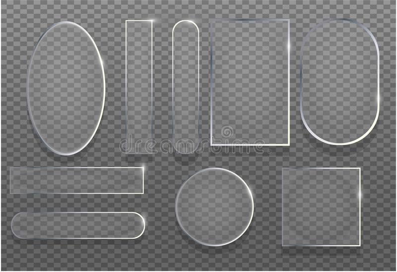 Ρεαλιστική τρισδιάστατη διαφανής καθορισμένη διανυσματική απεικόνιση γυαλιού Στιλπνό έμβλημα σύστασης πλαισίων αντανάκλασης με τη ελεύθερη απεικόνιση δικαιώματος