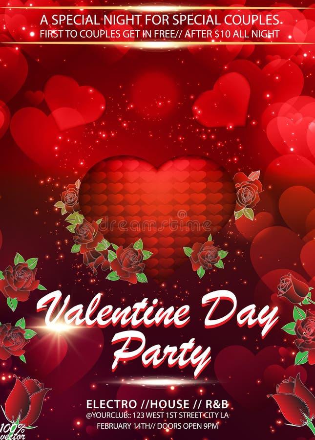 Ρεαλιστική τρισδιάστατη ζωηρόχρωμη ρομαντική καρδιά βαλεντίνων που επιπλέει με τα κόκκινες τριαντάφυλλα και τις καρδιές απεικόνιση αποθεμάτων