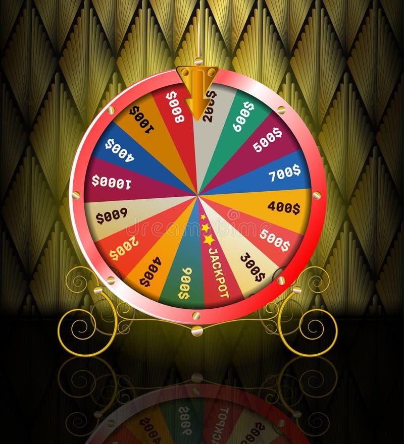 Ρεαλιστική τρισδιάστατη περιστρεφόμενη ρόδα τύχης, τυχερή ρουλέτα διανυσματική απεικόνιση
