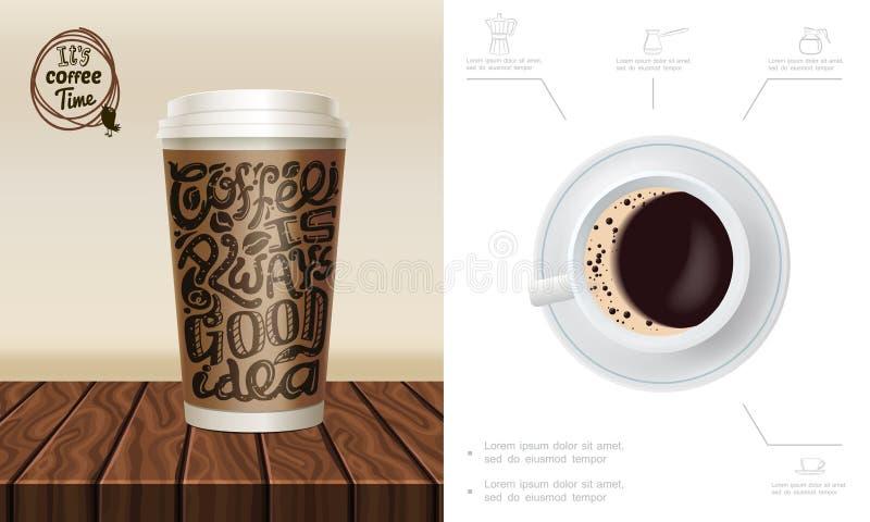 Ρεαλιστική χρονική σύνθεση καφέ ελεύθερη απεικόνιση δικαιώματος