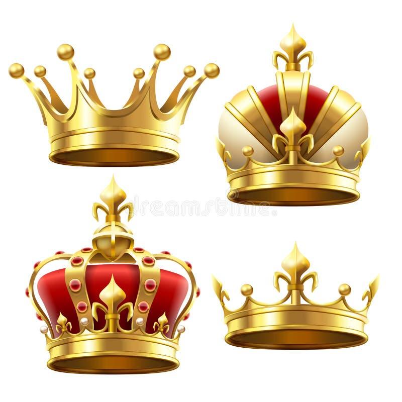 Ρεαλιστική χρυσή κορώνα Στέψη headdress για το βασιλιά και τη βασίλισσα Βασιλικό διανυσματικό σύνολο κορωνών διανυσματική απεικόνιση