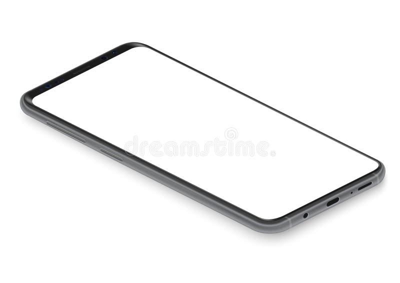 Ρεαλιστική isometric μαύρη frameless διανυσματική απεικόνιση άποψης προοπτικής προτύπων smartphone απεικόνιση αποθεμάτων