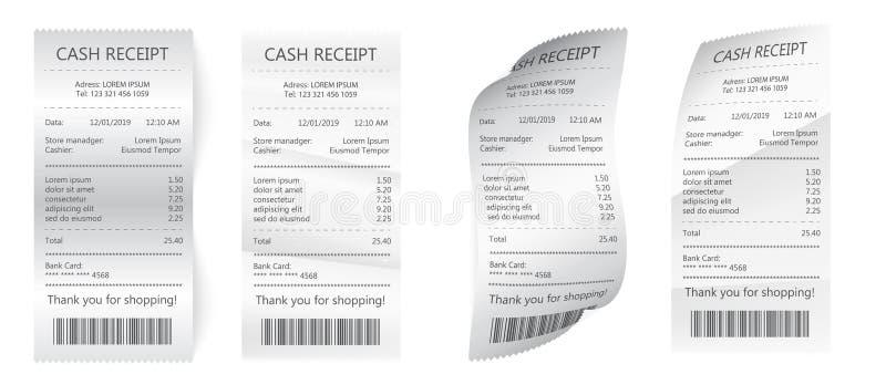 Ρεαλιστικοί λογαριασμοί εγγράφου πληρωμής για τα μετρητά ή την πιστωτική κάρτα Έλεγχος εγγράφου και οικονομικός έλεγχος που απομο ελεύθερη απεικόνιση δικαιώματος