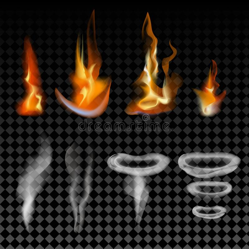 Ρεαλιστικοί πυρκαγιά επίδρασης φλογών και καπνός, διανυσματικό σύνολο απεικόνισης διανυσματική απεικόνιση