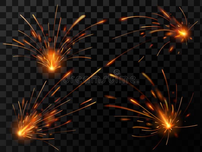 Ρεαλιστικοί σπινθήρες πυρκαγιάς Ροή σπινθήρων της συγκόλλησης χάλυβα ή της τέμνουσας εργασίας μετάλλων Η ηλεκτρική έκρηξη λαμπιρί απεικόνιση αποθεμάτων