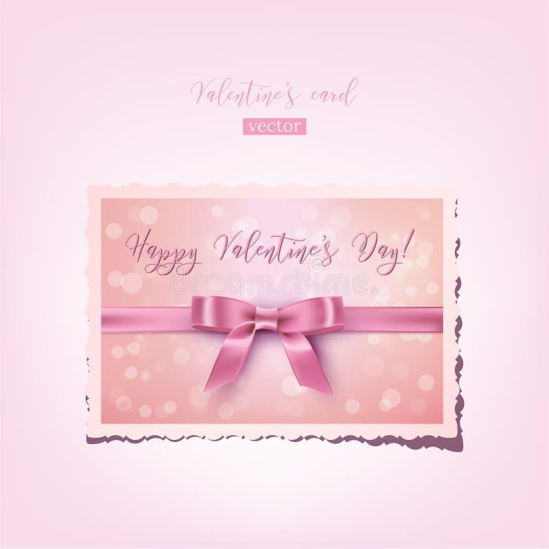 Ρεαλιστικός εκλεκτής ποιότητας βαλεντίνος Διανυσματική ροζ κάρτα βαλεντίνων ` s με το τόξο, την κορδέλλα και το ευτυχές κείμενο η διανυσματική απεικόνιση