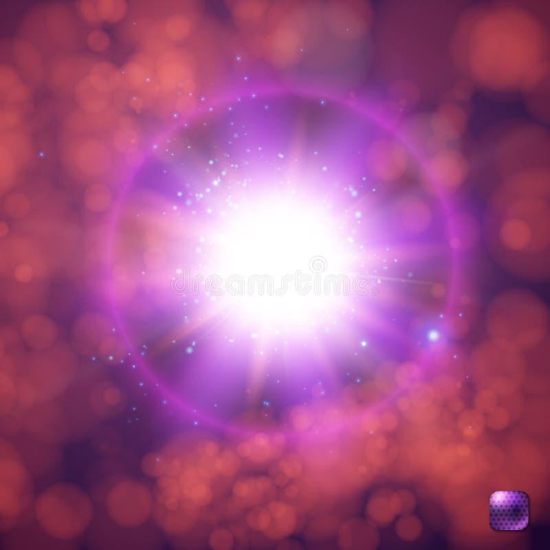 Ρεαλιστικός και φωτεινός, καμμένος ήλιος, έκρηξη αστεριών, έκρηξη σουπερνοβών ελεύθερη απεικόνιση δικαιώματος