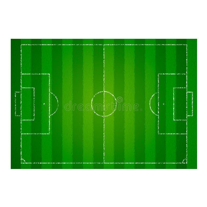 Ρεαλιστικός κατασκευασμένος αγωνιστικός χώρος ποδοσφαίρου χλόης ποδόσφαιρο πισσών απεικόνισης ποδοσφαίρου Κενή τοπ άποψη γηπέδων  ελεύθερη απεικόνιση δικαιώματος