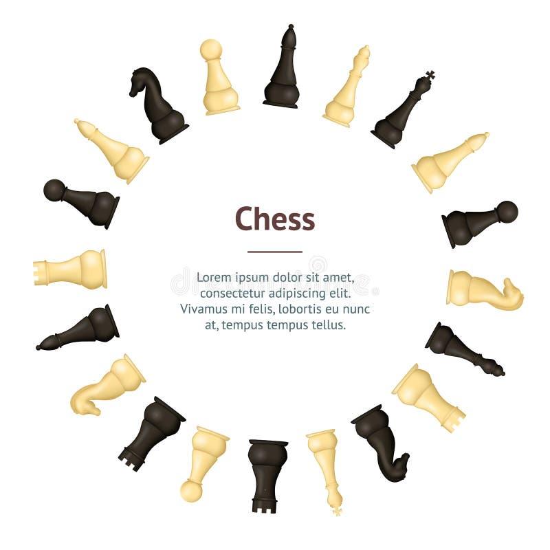 Ρεαλιστικός λεπτομερής τρισδιάστατος ξύλινος κύκλος καρτών εμβλημάτων κομματιών σκακιού διάνυσμα ελεύθερη απεικόνιση δικαιώματος