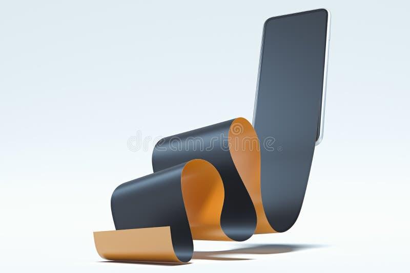 Ρεαλιστικός μαύρος έλεγχος στην κινητή τηλεφωνική οθόνη On-line ψωνίζοντας και πληρώνοντας την έννοια r διανυσματική απεικόνιση
