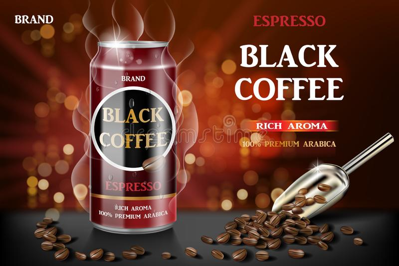 Ρεαλιστικός μαύρος κονσερβοποιημένος καφές espresso με τα φασόλια στην τρισδιάστατη απεικόνιση Σχέδιο ποτών καφέ προϊόντων με το  διανυσματική απεικόνιση