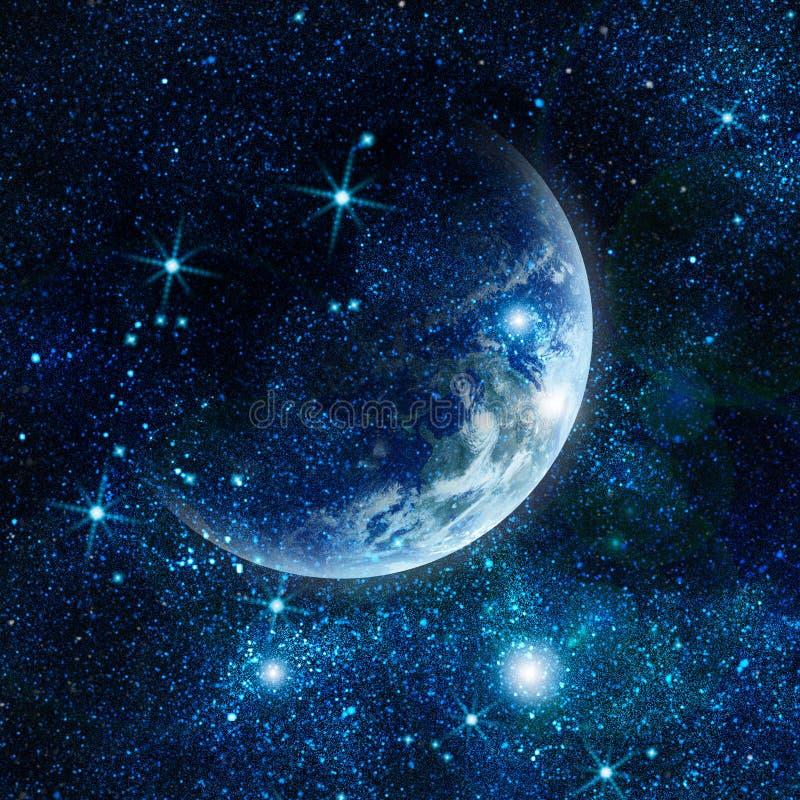 Ρεαλιστικός πλανήτης Γη στο διάστημα ελεύθερη απεικόνιση δικαιώματος
