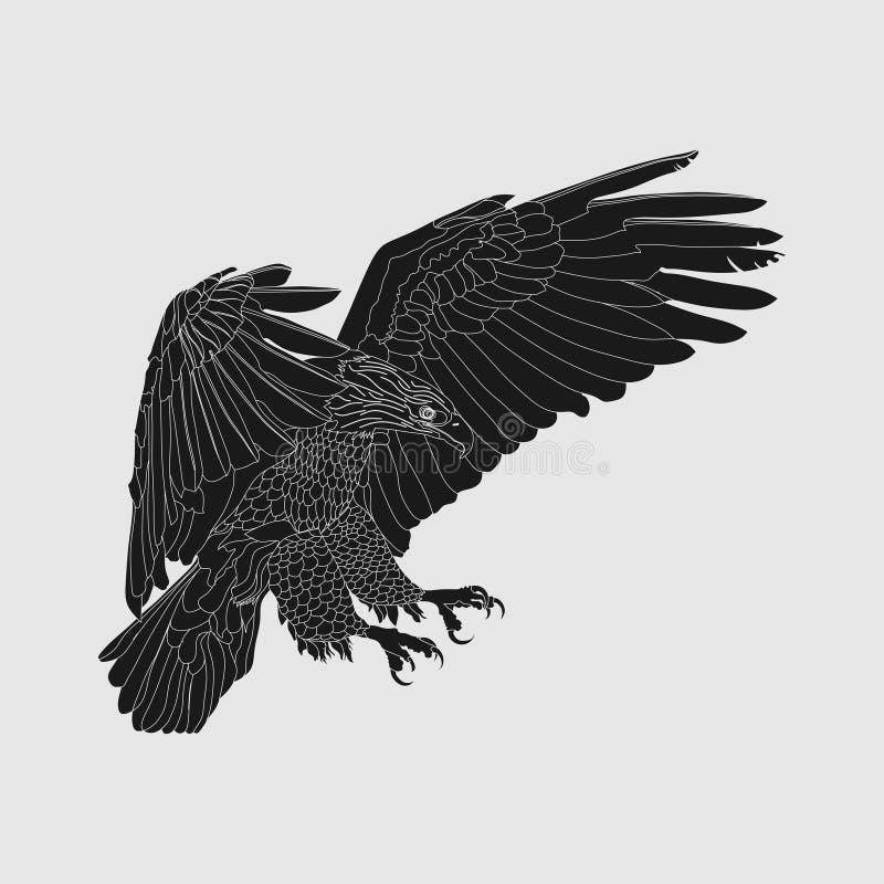 Ρεαλιστικός σκοτεινός αετός, αετός ανύψωσης, που πιάνει το θήραμα απεικόνιση αποθεμάτων