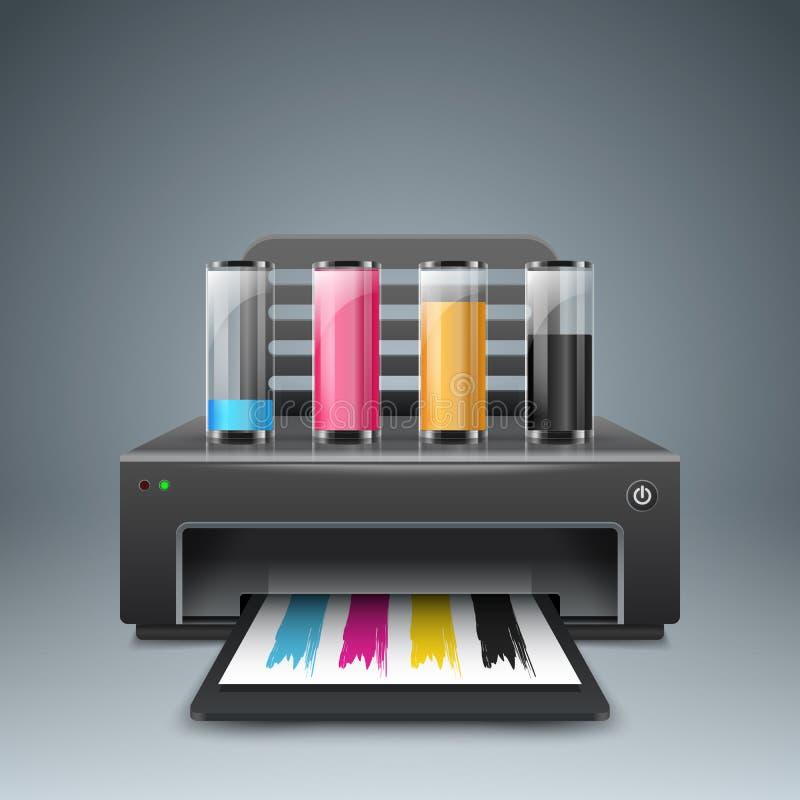 Ρεαλιστικός τρισδιάστατος εκτυπωτής Επιχείρηση Infographic Εικονίδιο εγγράφου A4 διανυσματική απεικόνιση