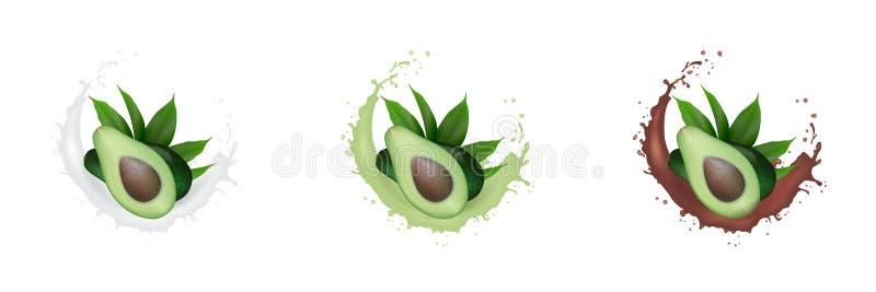 Ρεαλιστικός φρέσκος πράσινος χυμός φρούτων αβοκάντο, γάλα, καθορισμένος παφλασμός σοκολάτας Αβοκάντο μισό με τα φύλλα στο ράντισμ απεικόνιση αποθεμάτων