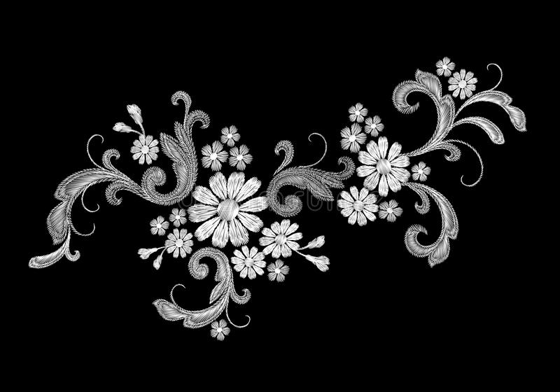 Ρεαλιστικό άσπρο διανυσματικό μπάλωμα μόδας κεντητικής διανυσματική απεικόνιση